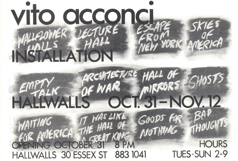 VITO ACCONCI: WALLFLOWER HALLS