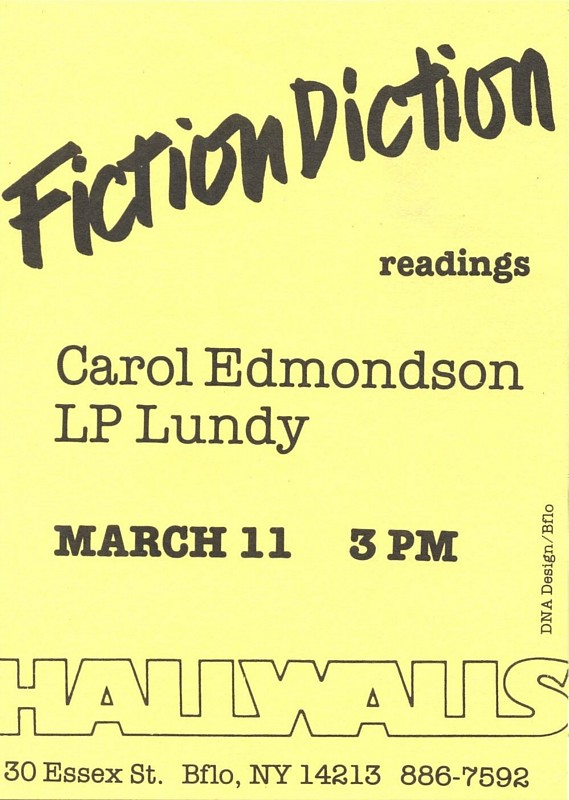 FICTION DICTION: CAROL EDMONDSON and L.P. LUNDY
