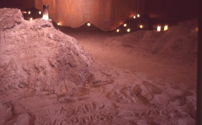Installation shot of Written in the Sand, by Karen Finley