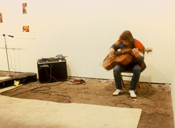 Performance by Arthur Russel at Hallwalls, 1979.
