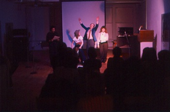 A performance by Poets Overload Expeditionary Troupe at Hallwalls, 1982.